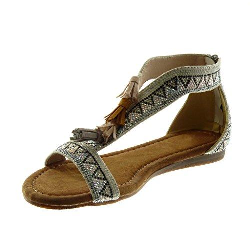 Angkorly Chaussure Mode Sandale Folk Salomés Femme Strass Diamant Pom-Pom Frange Talon Compensé 1.5 CM Argent