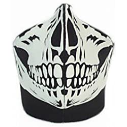 GOODSPORTS© - Masque Protection Demi Cagoule Neoprene Black skull - Ghost Tete de mort - Taille unique réglable - Airsoft - Paintball - Outdoor - Ski - Snow - Surf - Moto - Biker - Quad