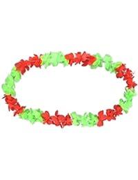Hawaii collier Hula de Luxe rouge vert collier fleur HK-12