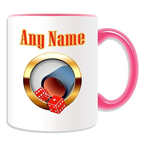 Personalisiertes Geschenk–Würfelbecher und Würfel Tasche Tasse (Casino Design Thema, Farbe Optionen)–alle Nachricht/Name auf Ihre einzigartige–Craps SIC Bo, keramik, rose
