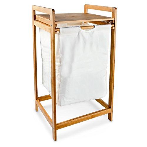 Wäschesammler mit Bambusgestell und Stoffbeutel