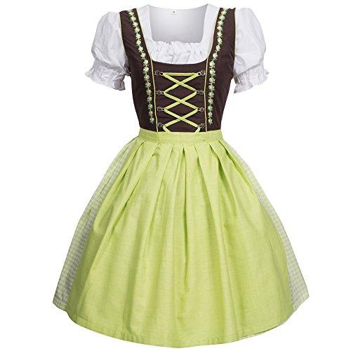 Dirndl 3 pezzi, vestito Dirndl, camicia, gonna, formato 34-46 verde / marrone 40