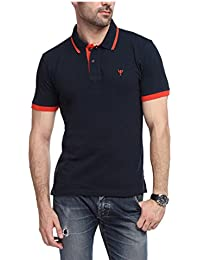 Yukth Mens Half Sleeve Tipping Polo T-Shirt Navy