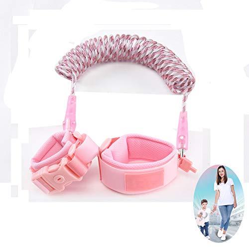 WYJHNL Baby Antiverlust Sicherheit Handgelenk Geschirre Link 360° -Drehung Nachtsichtgerät für Kleinkind Gürtel Walking Hand Leine Gurt Seil Sicherheitsgeschirre mit Tastensperre für Kinder,Pink,1.5m
