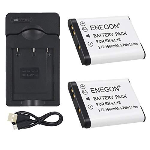 ENEGON 2 Baterías Cargador Nikon EN-EL19 and Nikon