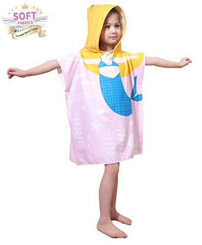 APERIL Schwimmen Bad Handtuch Badetuch Bademäntel mit Kapuze - weich schnell trocknende Swim Pool Coverup Poncho Cape für Mädchen Jungen Kinder -