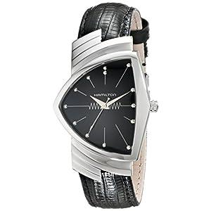 Hamilton H24411732 Ventura Reloj de Acero Inoxidable con Correa de Piel Negra para Hombre