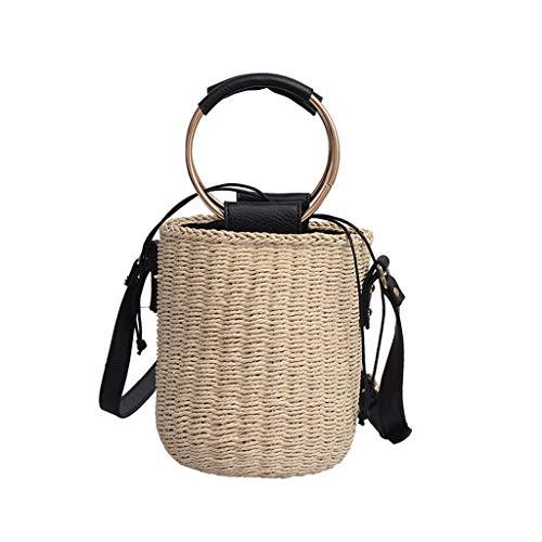Likecrazy Strohtasche Damen Stroh Crossbody Tasche Sommer Strand Geldbörse und Handtaschen Runde Schulter Tasche Freizeit Reise Damentasche Reisetasche (Mini-taschenrechner Casio)