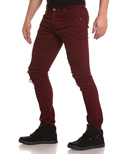 BLZ jeans - Jean schlank Burgunder zerrissen Rot