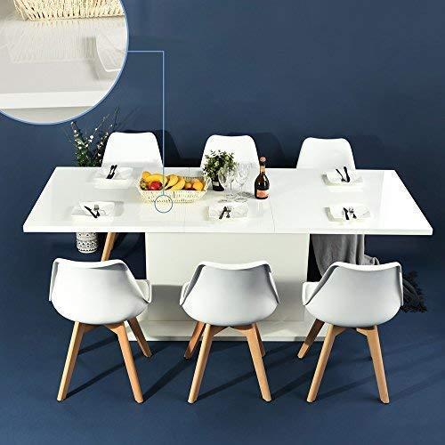 Table de salle à manger à rallonge, plateau en bois, table de cuisine multifonction avec rangement, utilisation en intérieur, 160–205 cm de longueur, blanche