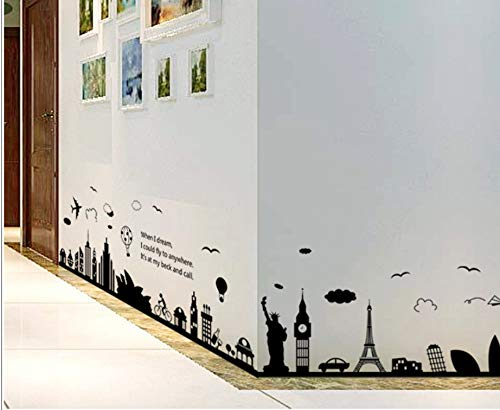 Sydney Tower (Eiffel Tower Sydney Greek city Building set DIY Wall Stickers Living Room Background Decor Mural Decal Wallpaper 60 * 90CM)