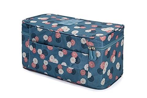 Les Bottes à bagages Emballage Cubes-compression Pochettes pour sous-vêtements, soutien-gorge, Chaussettes bleu/fleur
