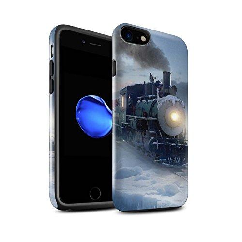 Officiel Elena Dudina Coque / Brillant Robuste Antichoc Etui pour Apple iPhone 8 / Nuit Bateau Voyage Design / Fantaisie Paysage Collection Le Polar Express