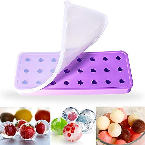 NEUFLY Eiswürfelform Silikon Eiswürfelform mit Deckel DIY BPA Frei Kugel Eiswürfelformen für Familie, Partys und Bars - Lila -