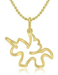 WANDA PLATA Colgante Unicornio para Mujer, Plata de Ley 925 con Baño de Oro,Collar, Gargantilla