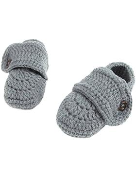 Smile YKK 1 Paar Strickschuh Strick Schuh Baby Unisex süße Stil 11cm One Size Knopf