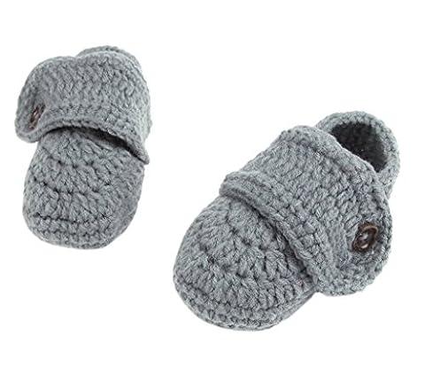 Smile YKK 1 Paar Strickschuh Strick Schuh Baby Unisex süße Stil 11cm One Size Knopf Grau (Baby-0-6 Monate Kostüme)
