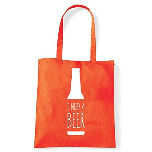 Art T-shirt, Borsa Shoulder Need Beer, Shopper, Mare Arancio
