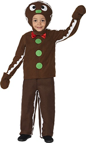 Smiffys Children's Little Gingerbread Man Costume, Top, Pants & Headpiece, Size: M, Color: Brown, 35939