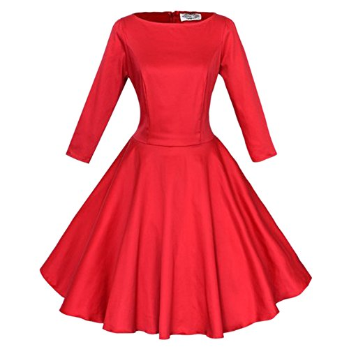 MNBS Femmes Robe Col Rond Dentelle Manches 3/4 Swing Retro Robe de Cotton Sans Manches Rouge