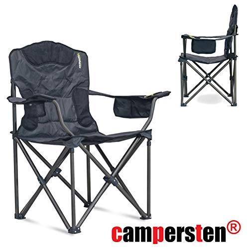 campersten XXL Campingstuhl | EXTRA breite Sitzfläche | hohe Tragkraftvon 180KG | EXTRA Sitzkomfort | inkl. Isolierfach für kühle Getränke - Extra Breiter Falt -
