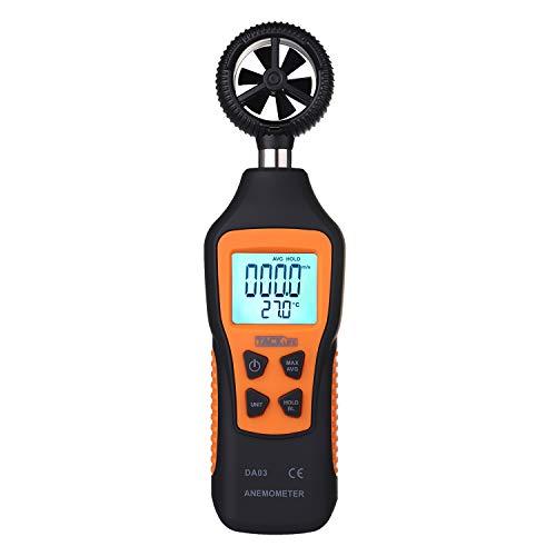 Anemómetro Termómetro, Tacklife DA03 Medidor de Velocidad de Aire (0.8~30.0 m/s), Medidor de Tempetratura (-10℃~60℃), Pantalla LCD Retroiluminada con Linterna, Alta Precisión, Batería Incluida