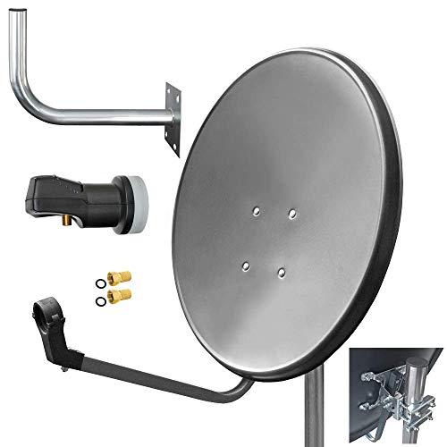 60cm HD Sat Anlage Single LNB Digital + Wandhalter 45cm + 2 F-Stecker 1 Teilnehmer Antenne Grau UHD 4K Hd-single