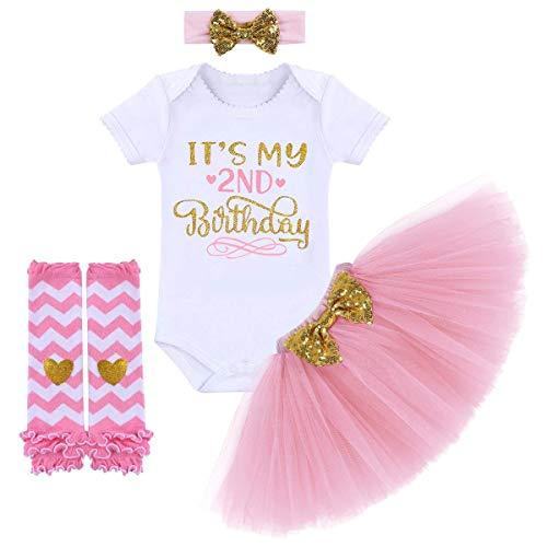 TTYAOVO Neugeborene Mädchen Es ist Mein 1. / 2. Geburtstag 4 Stück Outfits mit Romper+Tutu Kleid + Stirnband+ Leggings 2 Jahre Rosa(2 Jahre)