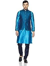 Manyavar Men's Full Sleeve Regular Fit Self-Designed Kurta Paired with Churidar & Designer Nehru Jacket