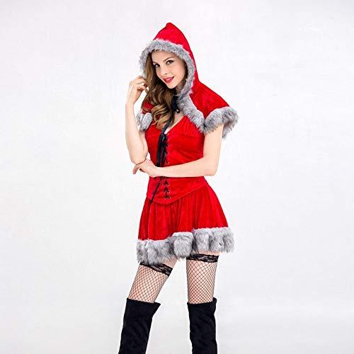 Shisky Weihnachtskostüme,Weihnachten Kleid weibliche Erwachsene Sexy Nachtclub Make-up Ball rote niedliche Prinzessin Kostümrock Set Weihnachten