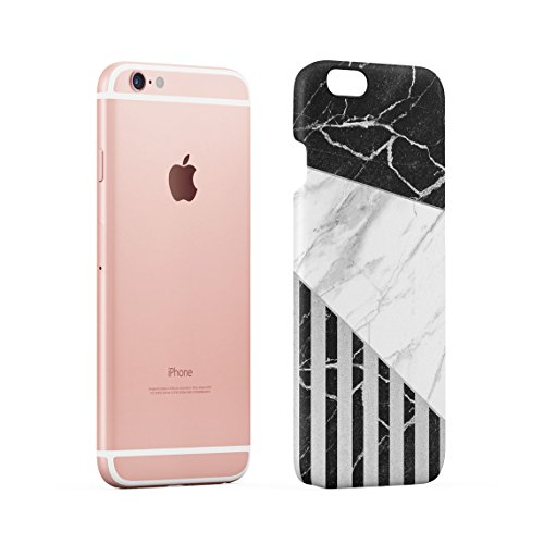 White & Black Cracked Marble & Oak Wood Blocks Dünne Rückschale aus Hartplastik für iPhone 6 Plus & iPhone 6s Plus Handy Hülle Schutzhülle Slim Fit Case cover Black Striped Blocks