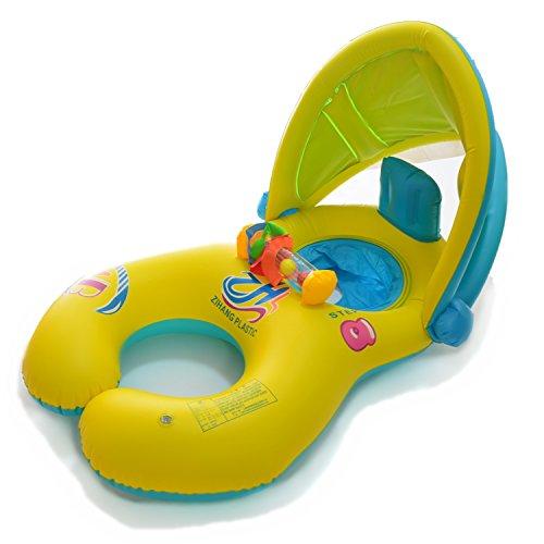 QIN-KEJI Mother & Baby Schwimmbrett mit aufblasbaren Sonnendach Baby Hilfe Sicherheit Pool Boot Spielzeug mit Sonnendach, UV-Schutz (gelb)