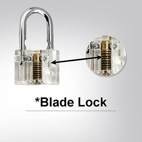 3er-Pack Praxis Lock Set, Geepro Kristall Visible Cutaway von 3 häufigsten Lock-Typen, für Schlosser Ausbildung Verschluss-Auswahl-Satz, enthält 3 verschiedene Arten von Übungs Padlock - 5