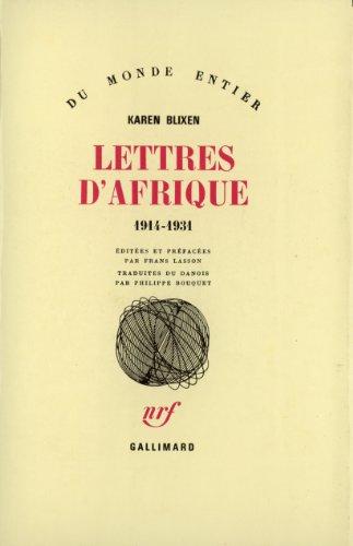 Lettres d'Afrique, 1914-1931 par Karen Blixen