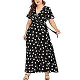 HULKY Damen Casual Plus Size V-Ausschnitt Kurzarm Polka Dot Frauen Gedruckt Krawatte Taille Gürtel Vorne Schlitzbandage Midi Club Kleid Wickelkleid(schwarz,L4)