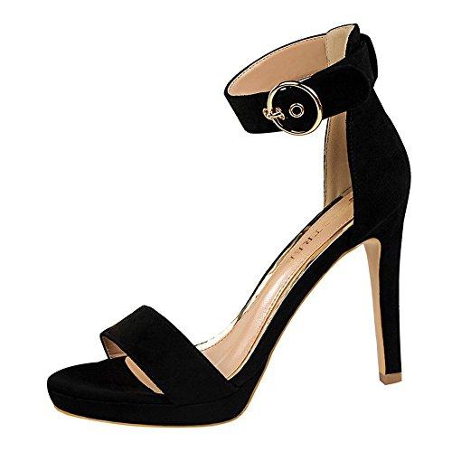 z&dw Chaussures femme simple talon fin talons ceinture boucle avec sandales Noir