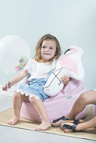 Jollein - Kinder Sitzsack rosa 50x43cm - Bequeme beanbag fürs Kinderzimmer - Pinker Canvas - Kindermöbel - Lounge Sessel für Babys & Kinder -