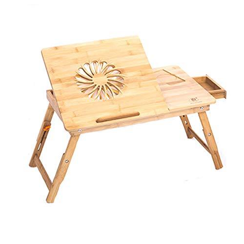 Bambus Klapp Laptop Tisch Verstellbare Tragbare Sofa Frühstückstisch, Geeignet Für Bett Schlafzimmer (größe: 21,7 × 14in, Mit Schublade) ()