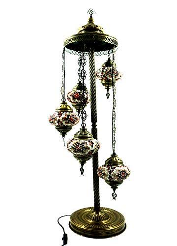 Orientalische Türkische Glasmosaik Ottomane Turkish Asiatisch Handgefertigte Mosaik Glas Boden Lampe Innenleuchte Orientalische Lampe Glas Stehlampe Bodenlampe 5 Lichter Glasgröße 2 (Orange-Rot) (Asiatische Orientalische Lampe)
