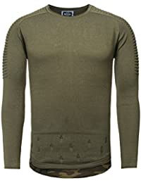 Carisma Men Knitted Jumper Sweatshirt CAMOU destroyed Effekte camouflage Look with Details