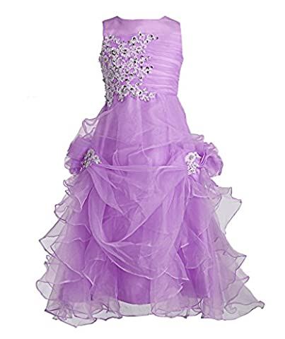 FAIRY COUPLE Girl's Ruffled Applique Flower Girl Communion Pageant Dress K0073 12 Lilac