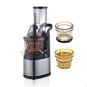 Whole Fruit, Wide Mouth Stainless Steel, Cold Press, Masticating Juicer in Stainless Steel with ...