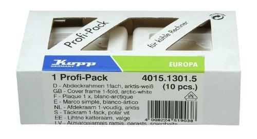 Preisvergleich Produktbild Kopp 401513015 Profi-Pack 10 Abdeckrahmen für senkrechte und waagerechte Installation, 1-fach, EUROPA, arktis