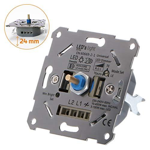 proventa® Universaldimmer I Unterputzdosen-Drehdimmer zum Dimmen von LED- und Halogen-Leuchtmittel I Inklusive Adapter