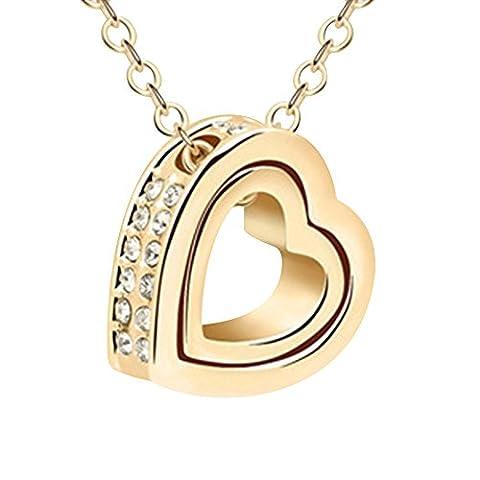 Contever® Artificielle Cristal Collier Charm Pendentif Femmes Avec Boîte Cadeau Longueur de la chaîne 45 CM - D'or