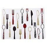 Housesweet 1 bedruckte Tischsets Anti-Rutsch-Isolierung Küche Tischsets Fleckenabweisend Esstischmatten, plastik, Red-02, 40 * 28cm