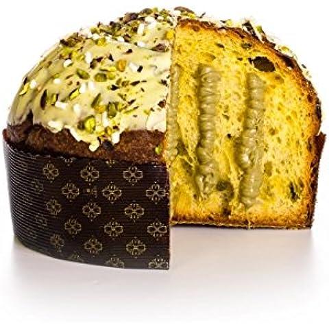Panettone tortas con crema de pistacho de Bronte, la formación de hielo y el grano, alta pastelería siciliana, 750 gr