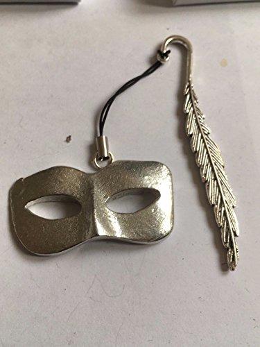 Damen Masquerade Maske Masquerade Ball Größe 2,5cm x 4.2cm tg233aus feinem englischen Zinn, A Feather Lesezeichen geschrieben von uns Geschenke für alle 2016von Derbyshire UK