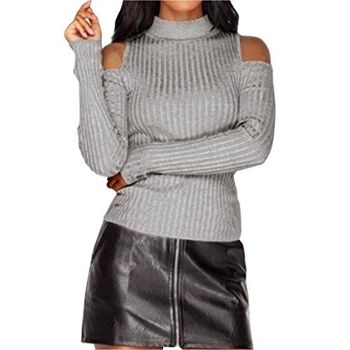 Sannysis Damen Lange Hülsen Gestrickte Blusen Pullover Strickjacke Dünne Überbrücker Oberseiten (XL, Grau) (Baumwolle Rundhalsausschnitt Chiffon)