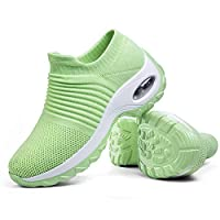 Women's Walking Shoes Sock Sneakers - Mesh Slip On Air Cushion Lady Girls Wedge Jazz Dance Easy Shoes Platform Loafers Green,8